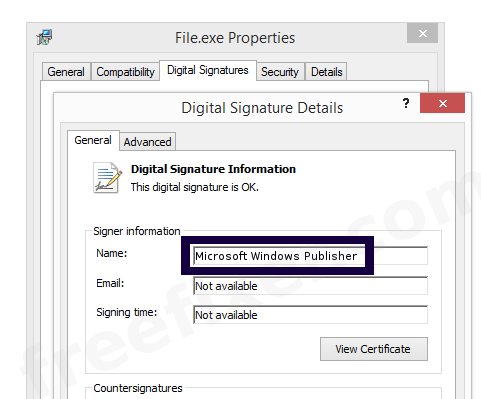 Screenshot of the Microsoft Windows Publisher certificate