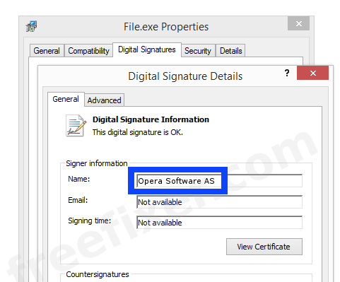 Screenshot of the Opera Software AS certificate