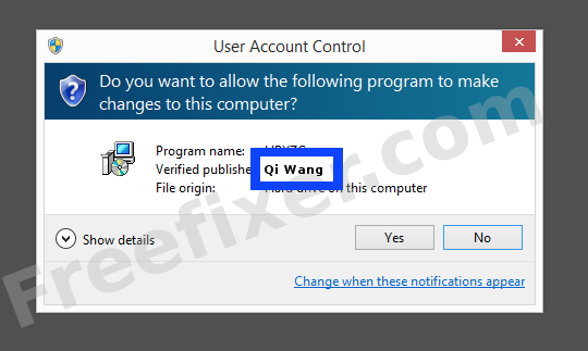 Screenshot where Qi Wang appears as the verified publisher in the UAC dialog