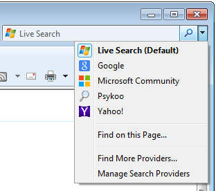 The image illustrates the search providers in Internet Explorer.