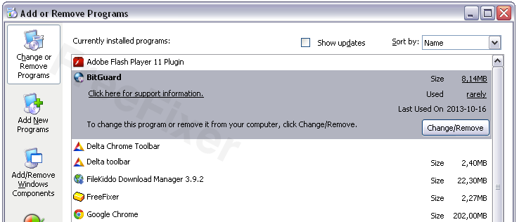 BitGuard in the Add/Remove programs dialog