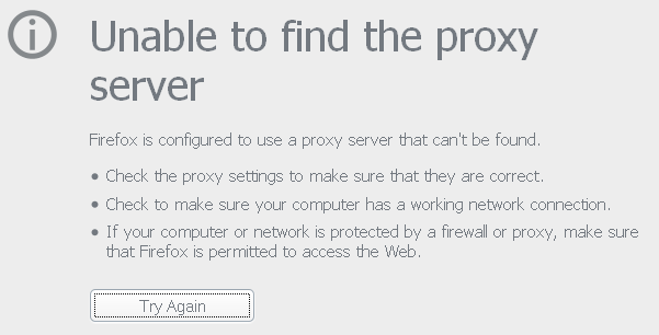 Unable to find the proxy server.