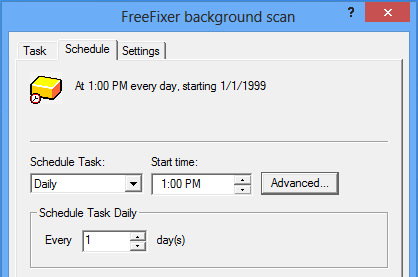 Screenshot of the FreeFixer's backgound scan scheduling interface on a Windows 8 machine.