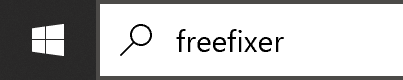 The image illustrates how to start FreeFixer on a Windows 10 machine by searching for 'freefixer' in the search box.