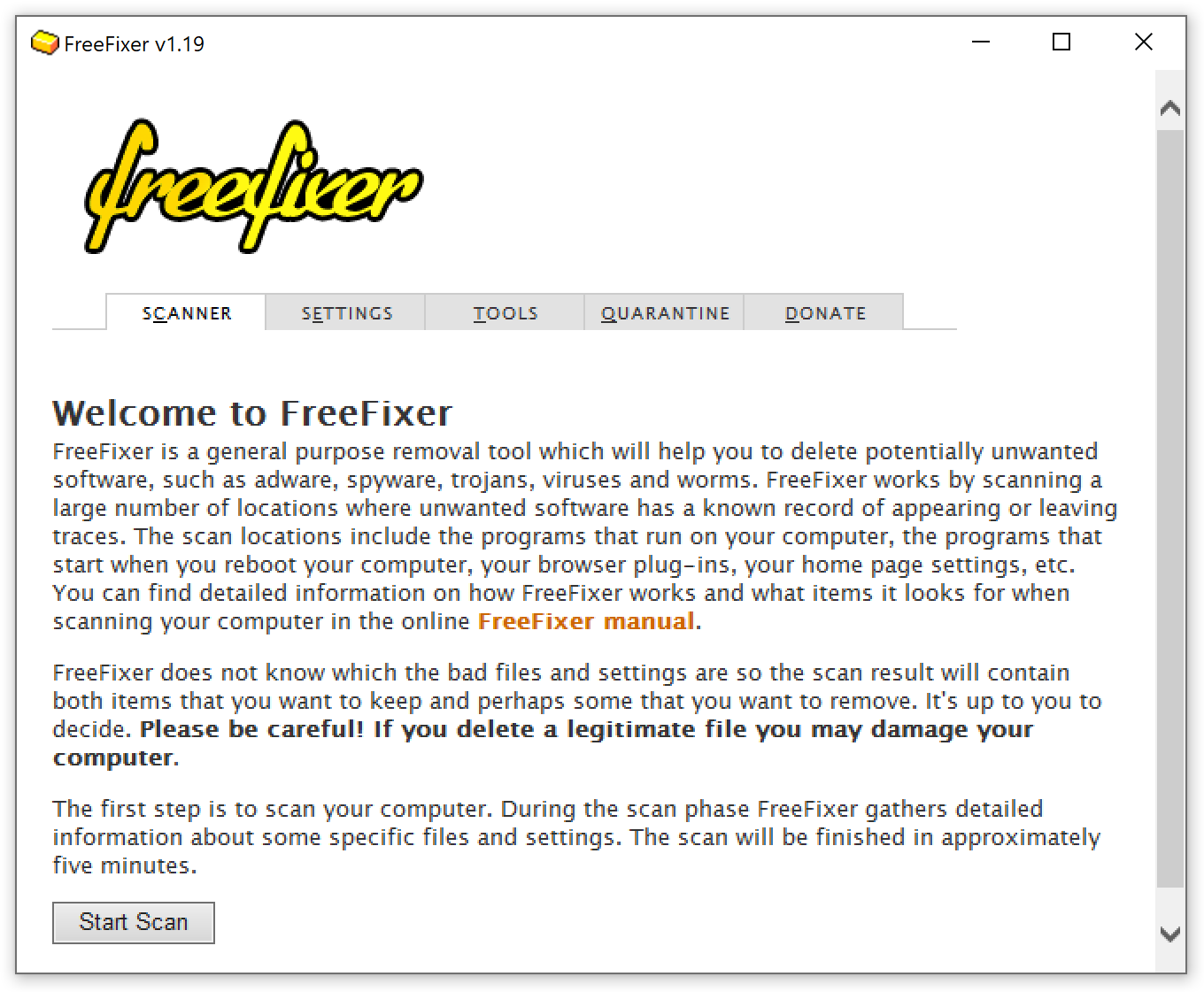 A screenshot from FreeFixer's startup screen.
